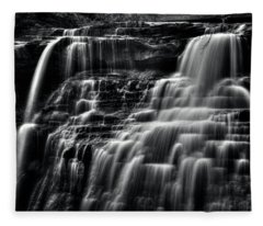 Brandywine Falls At Cuyahoga Valley National Park B W Fleece Blanket