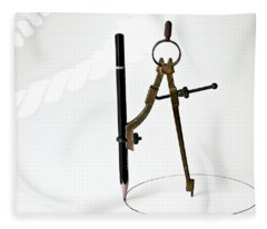 Brass Compass And Pencil Fleece Blanket