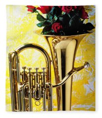 Brass Tuba With Red Roses Fleece Blanket