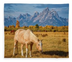 Breakfast In The Tetons Fleece Blanket
