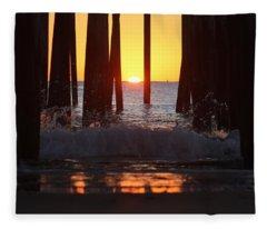 Breaking Dawn At The Pier Fleece Blanket
