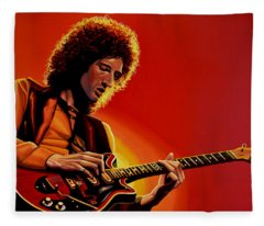 Brian May Of Queen Painting Fleece Blanket