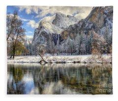 Bridalveil Falls From Valley View Yosemite National Park  Fleece Blanket