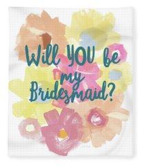 Bridesmaid Floral- Art By Linda Woods Fleece Blanket