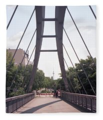 Bridge And Alexanderplatz Tower Fleece Blanket