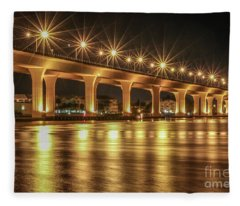 Bridge And Golden Water Fleece Blanket