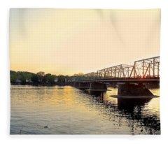 Bridge And New Hope At Sunset Fleece Blanket