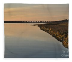 Bridge And Ria At Sunset In Quinta Do Lago Fleece Blanket