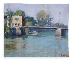 Bridge At Tonawanda Canal Fleece Blanket