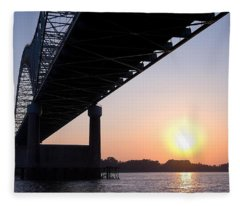 Bridge Over Mississippi River Fleece Blanket