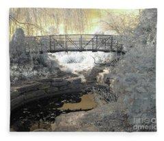 Bridge In Shades Of Infrared Fleece Blanket