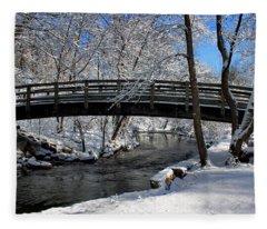 Bridge In Winter Fleece Blanket