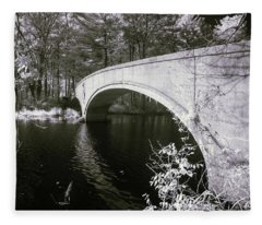 Bridge Over Infrared Waters Fleece Blanket