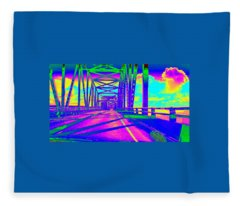 bridge to Astoria #5 Fleece Blanket