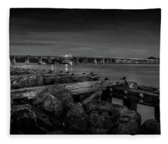 Bridge To Longboat Key In Bw Fleece Blanket