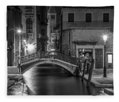 Bridge To The Tower Venice Italy  Fleece Blanket