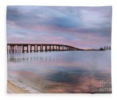 Bridge Under The Sunset Fleece Blanket