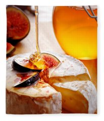 Brie Cheese With Figs And Honey Fleece Blanket