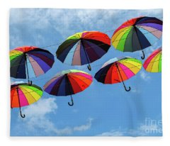 Bright Colorful Umbrellas  Fleece Blanket