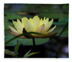 Bright Lemon Water Lily Fleece Blanket