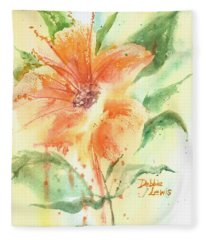 Bright Orange Flower Fleece Blanket