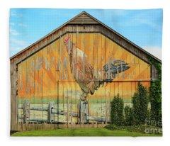 Bright Rooster Barn Fleece Blanket