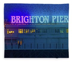Brighton Pier And The Starlings Fleece Blanket