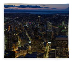 Brilliant Seattle Skyline Panorama From Atop The Columbia Center Fleece Blanket