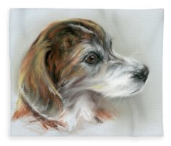Brindle Beagle Mix Portrait Fleece Blanket