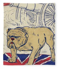 British Bulldog Stading On The Union Flag And With A Cannon Firing Fleece Blanket