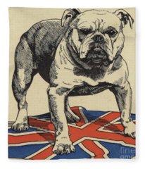 British Bulldog Standing On The Union Jack Flag Fleece Blanket