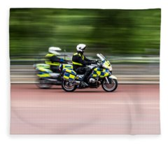 British Police Motorcycle Fleece Blanket