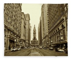 Broad Street Facing Philadelphia City Hall In Sepia Fleece Blanket