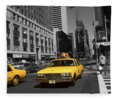 New York Broadway - Yellow Taxi Cabs Fleece Blanket