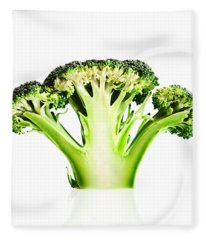 Broccoli Cutaway On White Fleece Blanket