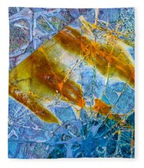 Fleece Blanket featuring the photograph Broken Glass Abstract Art Blue And Orange by Matthias Hauser