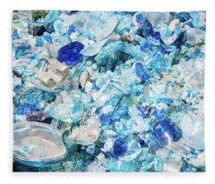 Broken Glass Blue Fleece Blanket