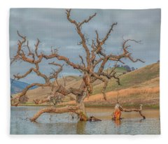 Broken Tree In Water Fleece Blanket