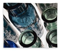 Bromo Seltzer Vintage Glass Bottles - Rare Green And Blue Fleece Blanket