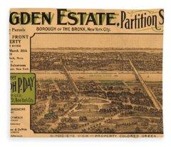 1909 Bronx New York Realtor Flyer Fleece Blanket