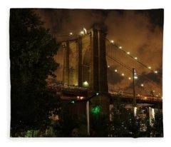 Brooklyn Bridge At Night Fleece Blanket