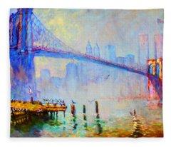 Brooklyn Bridge In A Foggy Morning Fleece Blanket