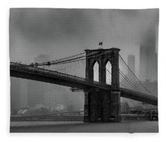Brooklyn Bridge In A Storm 2 Fleece Blanket