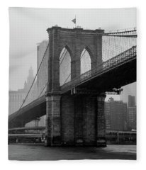 Brooklyn Bridge In A Storm Fleece Blanket