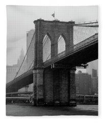 Brooklyn Bridge In A Storm Fleece Blanket