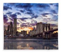 Brooklyn Bridge Manhattan Sunset Fleece Blanket