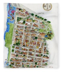Brooklyn Heights Map Fleece Blanket
