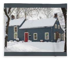 Brougham Cottage After The Snow Storm Fleece Blanket