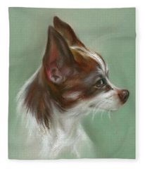Brown And White Chihuahua Fleece Blanket