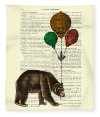 Brown Bear With Balloons Fleece Blanket